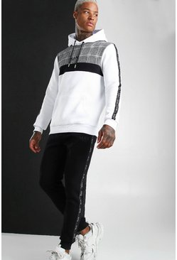 White Colour Block MAN Tape Jacquard Hooded Tracksuit