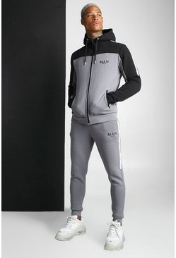 Charcoal MAN Colour Block Zip Hooded Tape Tracksuit