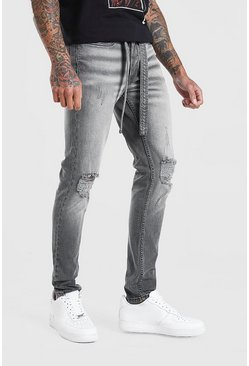 Grey Skinny Distressed Jean With Belt