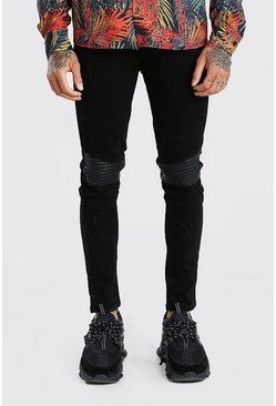 Black Super Skinny Biker Jeans With Faux Leather Panel