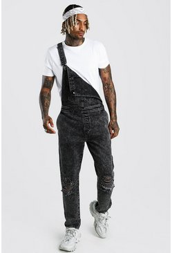 Charcoal Slim Rigid Acid Wash Dungaree With Knee Rips