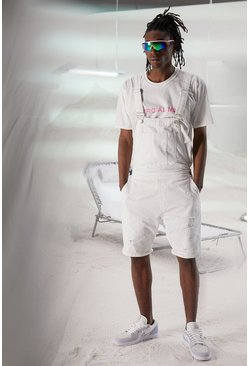 White Slim Rigid Short Denim Dungarees With Abrasions