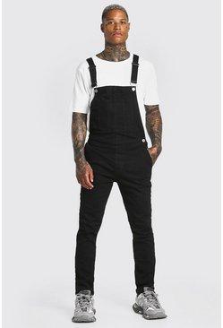 Washed black Skinny Stretch Long Denim Overalls