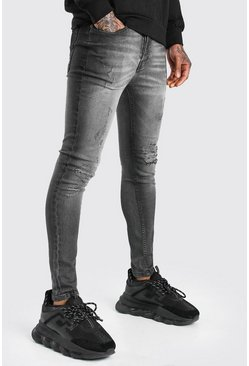 Grey Super Skinny Ripped Knee Jeans With Oil Wash
