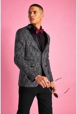 Black Skinny Prom Paisley Jacquard Blazer