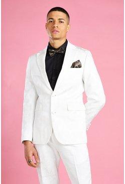 White Skinny Prom Floral Jacquard Suit Blazer