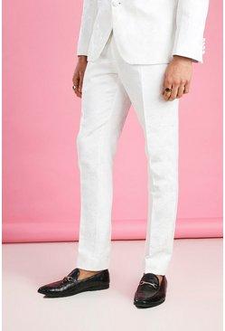 White Skinny Prom Floral Jacquard Suit Pants