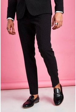 Black Skinny Fit Prom Polka Dot Suit Trouser