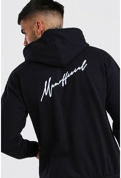 Black MAN Official Script Front & Back Print Hoodie