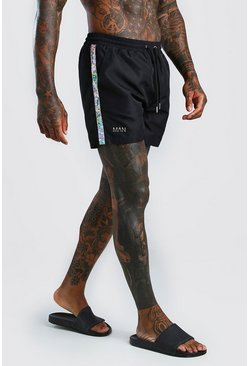 Black Man Mid Length Swim Shorts with Hologrpahic Tape