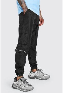 Black Nylon Multi Pocket Cargos