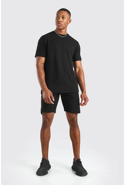 Black Pique Tshirt and Short Set