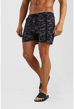 Grey Mid Length Camo Print Swim Short With Buckle Detail