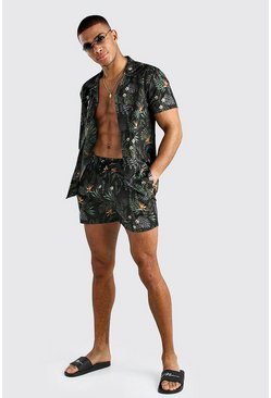 Black Short Sleeve Revere Collar Palm Print Shirt