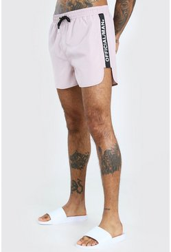 Mauve Official MAN Side Tape Swim Shorts