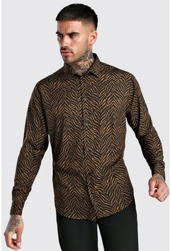 Tan Long Sleeve Shirt In Zebra Print