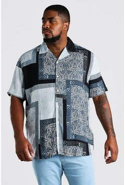 Blue Big And Tall Short Sleeve Tile Print Shirt