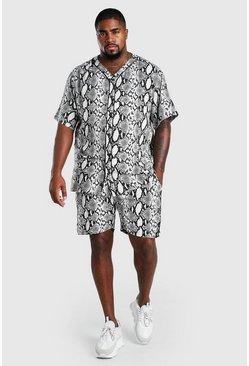 Black Big And Tall Baseball Shirt and Short Set