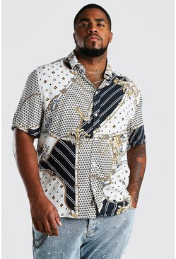 White Big And Tall Short Sleeve Chain Print Shirt
