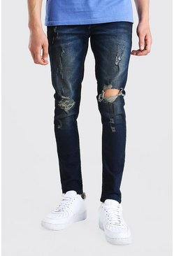Ink Super Skinny Ripped Knee Jeans With Oil Wash