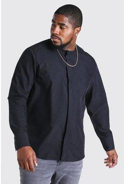 Black Plus Size Long Sleeve Collarless Shirt