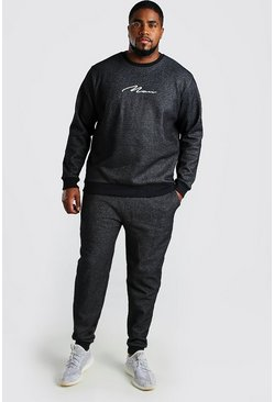 Black Big and Tall 3D MAN Script Pique Tracksuit
