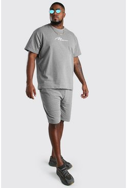 Grey Big and Tall Pinstripe T-Shirt and Short Set