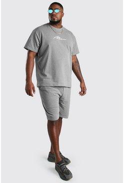 Grey Big and Tall Pinstripe T-Shirt and Short Set
