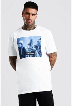 White Oversized Muppets Print T-Shirt