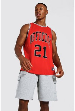 Red MAN Official Airtex Basketball Vest