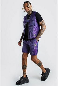 Purple Iridescent Utility Vest & Short Set