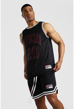 Black MAN Airtex Vest & Basketball Set