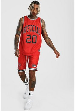 Red Man Airtex Tank Top & Basketball Set