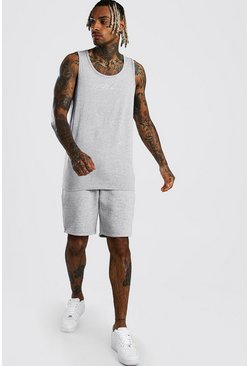 Grey marl MAN Signature Longline Vest & Short Set
