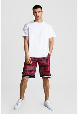 Black Oversized MAN T-Shirt With Check Basketball Shorts