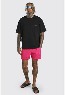 Short de bain et t-shirt coupe oversize signature MAN, Pink