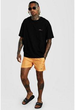 Orange MAN Signature Oversized T-Shirt & Swim Short
