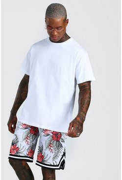 White Loose Fit T-Shirt & Airtex Printed Basketball Short