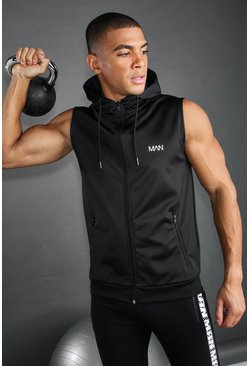 Black MAN Active Poly Fleece Lined Sleeveless Gym Hoodie