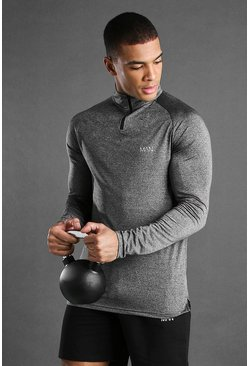 Top à col cheminée coupe skinny manches raglan MAN Active, Anthracite