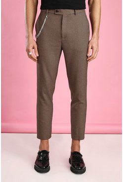 Brown Skinny Cropped Dogtooth Pants With Chain