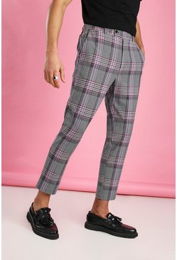 Pink Skinny Cropped Dogtooth Check Pants