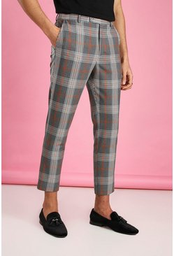 Grey Skinny Cropped Check Pants
