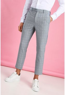 Blue Skinny Cropped Check Pants