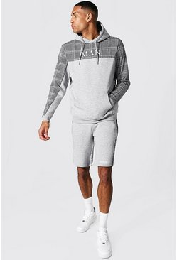Tall - Ensemble de survêtement jacquard avec short - MAN, Grey marl