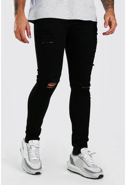 Black Super Skinny All Over Rip Jeans