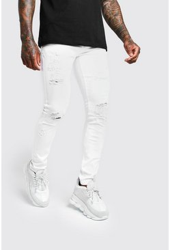 White Super Skinny All Over Rip Jeans