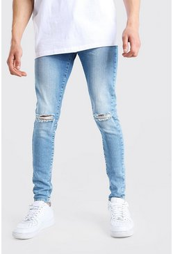Light blue Spray On Skinny Jean With Knee Rip