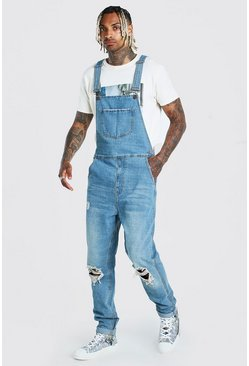 Vintage blue Slim Denim Dungarees With Busted Knees