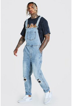 Ice blue Slim Denim Overalls With Busted Knees